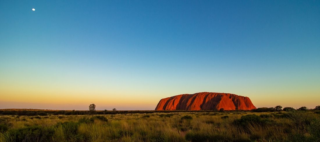 Coucher de soleil Uluru Centre rouge Ayers Rock