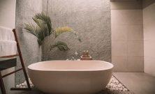 hotel baignoire palmier galets salle de bain