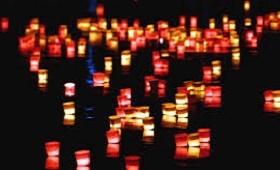 Lanternes rivière Thu Bon lumieres rouge