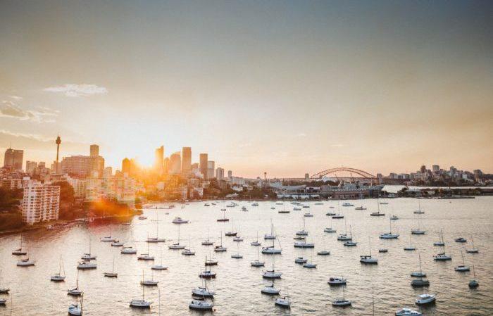 Vue Australie Sydney lever soleil