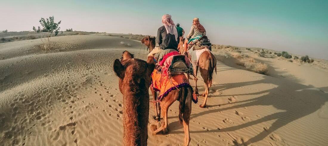Balade à dos de chameau dans les dunes - voyage Inde