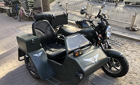 side car noir moto rue ville
