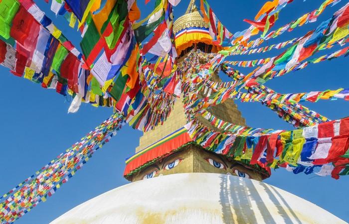 Bodnath stupa Katmandou drapeaux prières