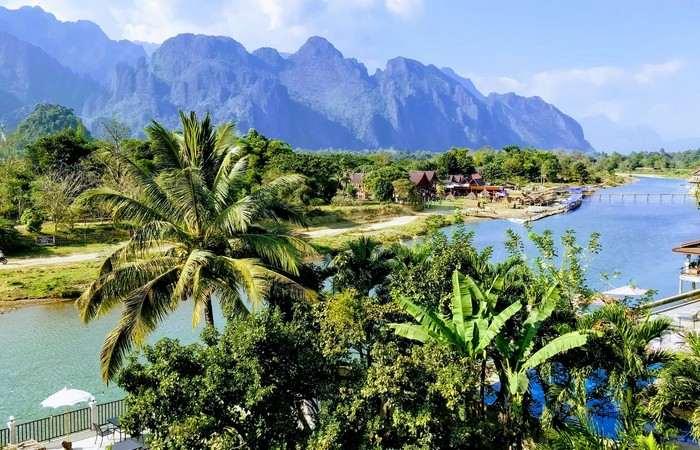 Vang Vieng Mekong vue montagnes