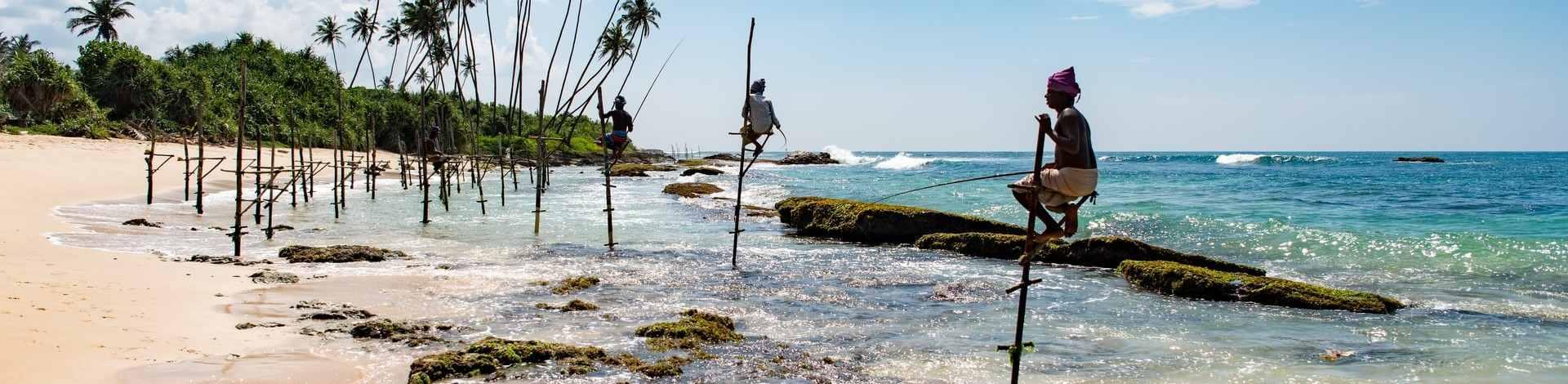 Pêcheurs Weligama plage sud Sri Lanka
