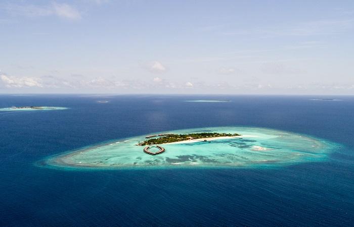 maldives vue aerienne ile ocean indien