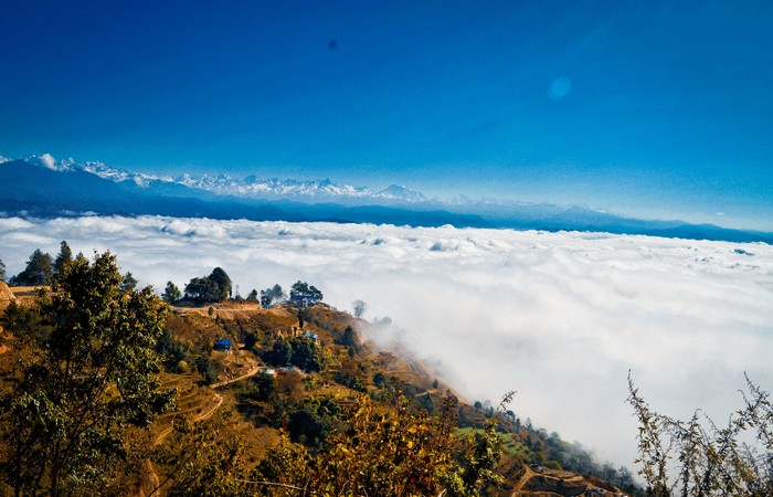 Vue Nagarkot sommet Himalayen